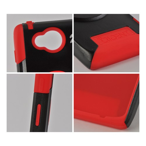 Trident Red/ Black Aegis Series Hard Case on Silicone w/ Screen Protector for Motorola Droid RAZR HD