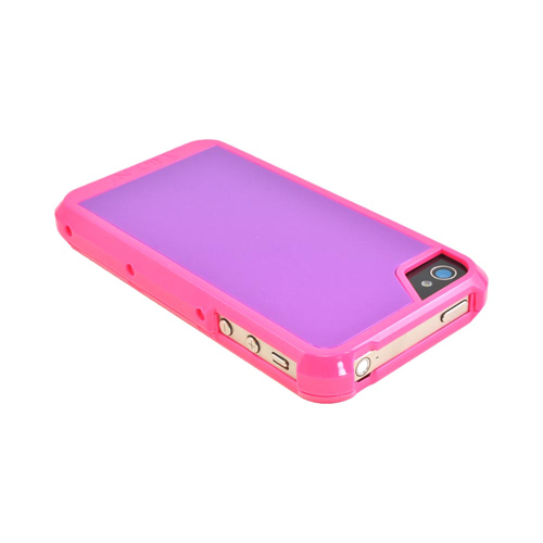 OEM Trident Apollo Apple iPhone 4/4S Hard Case w/ Interchangeable Plates & Screen Protector - Pink/ Purple