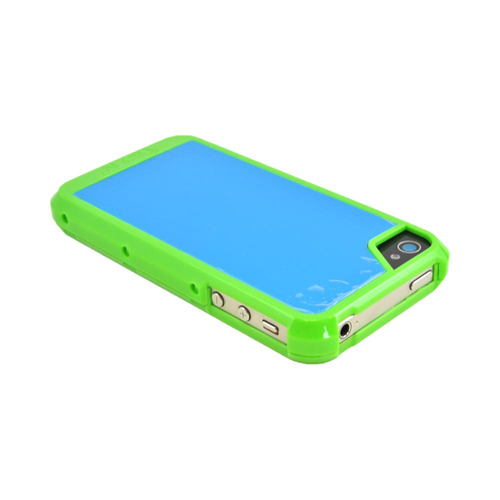 OEM Trident Apollo Apple iPhone 4/4S Hard Case w/ Interchangeable Plates & Screen Protector - Green/ Blue
