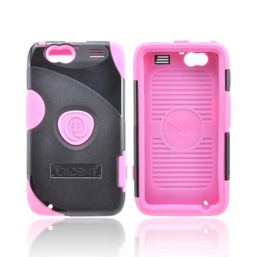 OEM Trident Aegis Motorola Atrix HD Hard Cover Over Silicone Case w/ Screen Protector - Pink/ Black