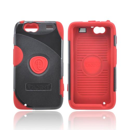 OEM Trident Aegis Motorola Atrix HD Hard Cover Over Silicone Case w/ Screen Protector - Red/ Black