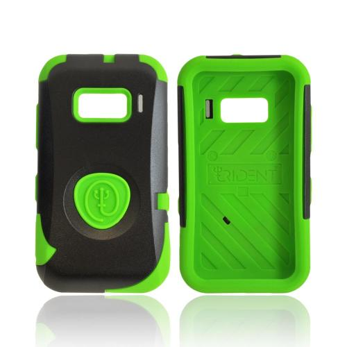 OEM Trident Aegis Alcatel One Touch 918 Hard Cover Over Silicone Case w/ Screen Protector - Green/ Black