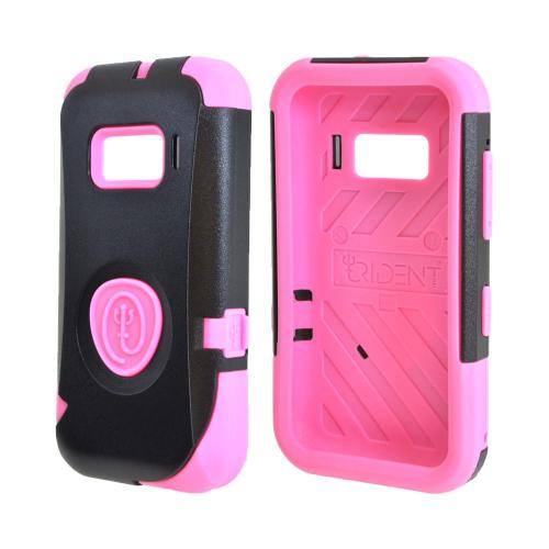 OEM Trident Aegis Alcatel One Touch 918 Hard Cover Over Silicone Case w/ Screen Protector - Pink/ Black