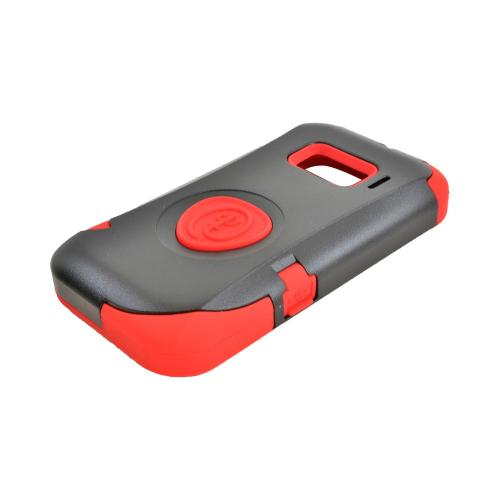 OEM Trident Aegis Alcatel One Touch 918 Hard Cover Over Silicone Case w/ Screen Protector - Red/ Black