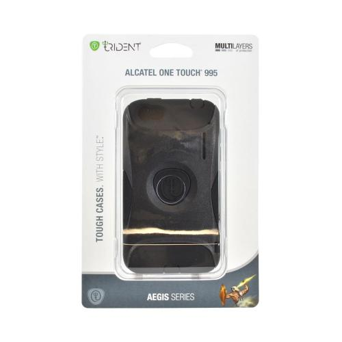 OEM Trident Aegis Alcatel One Touch 995 Hard Cover Over Silicone Case w/ Screen Protector - Black