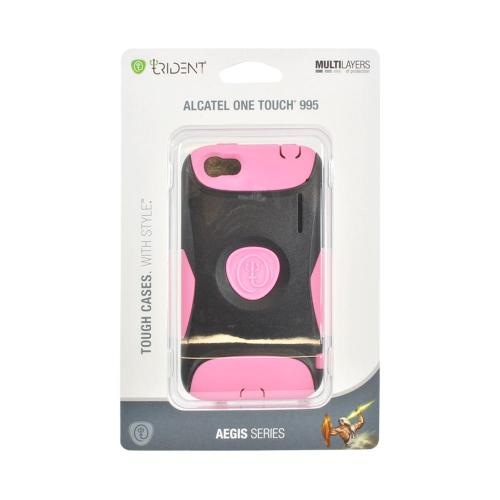 OEM Trident Aegis Alcatel One Touch 995 Hard Cover Over Silicone Case w/ Screen Protector - Pink/ Black