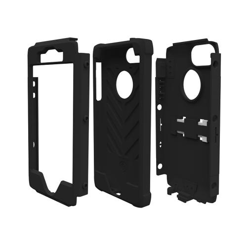 Apple iPhone SE / 5 / 5S  Case, Trident [Black] KRAKEN AMS Series Hard Case Over Silicone Kickstand & Belt Clip w/ Screen Protector