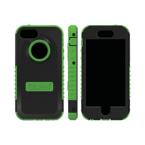 OEM Trident Cyclops Apple iPhone 5 Anti-Skid Hard Cover Over Silicone Case w/ Built-In Screen Protector - Green/ Black