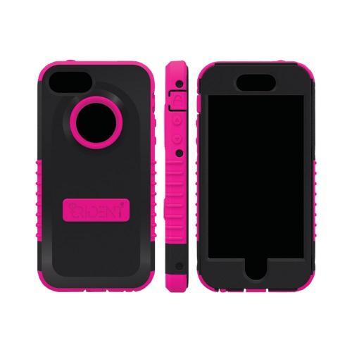 Apple iPhone SE / 5 / 5S  Case, Trident [Pink/ Black] CYCLOPS Series Anti-Skid Hard Cover Over Silicone Case w/ Built-In Screen Protector
