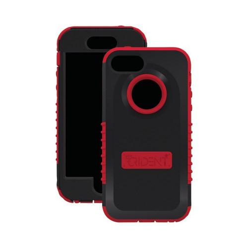 Apple iPhone SE / 5 / 5S  Case, Trident [Red/ Black] CYCLOPS Series Anti-Skid Hard Cover Over Silicone Case w/ Built-In Screen Protector