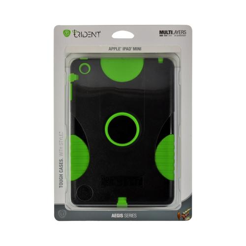 Trident Green/ Black Aegis Series Hard Case on Silicone w/ Screen Protector for Apple iPad Mini