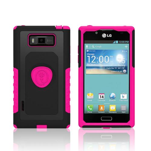 Trident Pink/ Black Aegis Series Hard Cover on Silicone Case w/ Screen Protector for LG Splendor