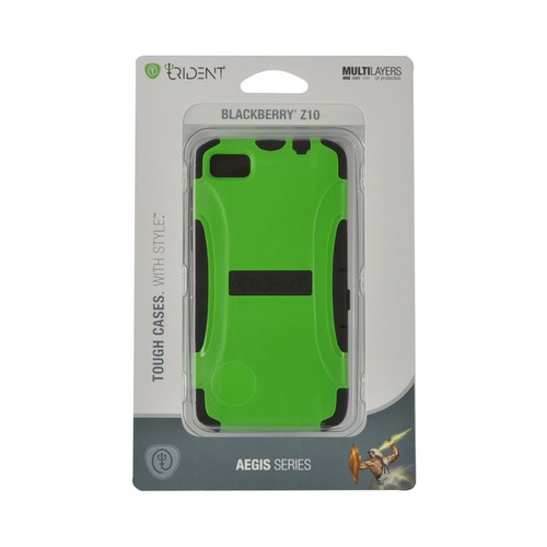 Trident Lime Green/ Black Aegis Series Hard Case on Silicone w/ Screen Protector for Blackberry Z10