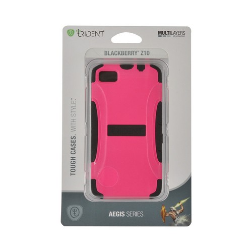 Trident Hot Pink/ Black Aegis Series Hard Case on Silicone w/ Screen Protector for Blackberry Z10