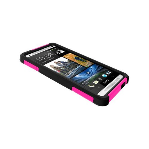 Trident Hot Pink/ Black Aegis Series Hard Case on Silicone w/ Screen Protector for HTC One