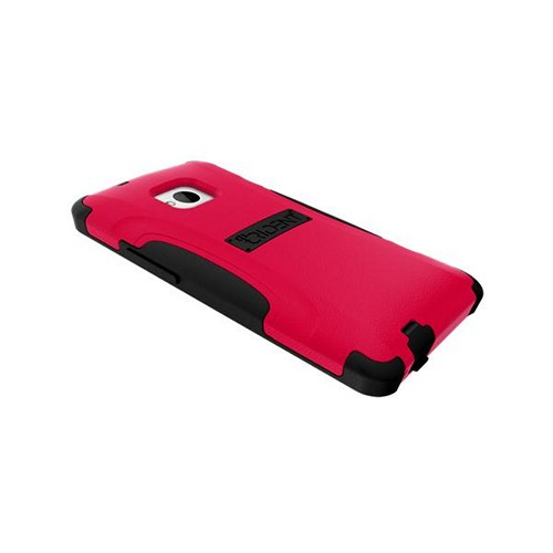 Trident Red/ Black Aegis Series Hard Case on Silicone w/ Screen Protector for HTC One