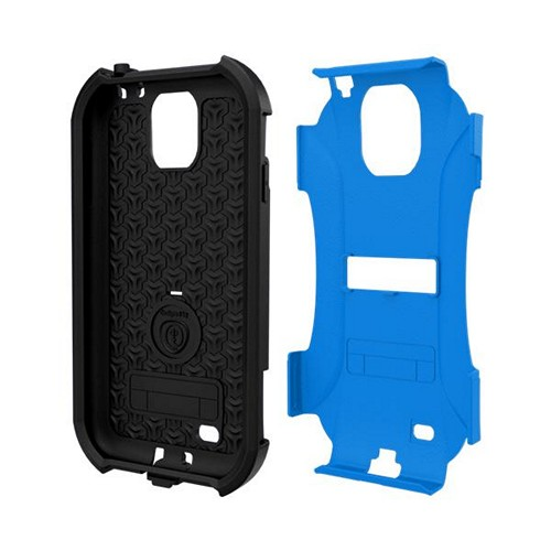 Trident Blue/ Black Aegis Series Hard Cover on Silicone Case w/ Screen Protector for Samsung Galaxy S4