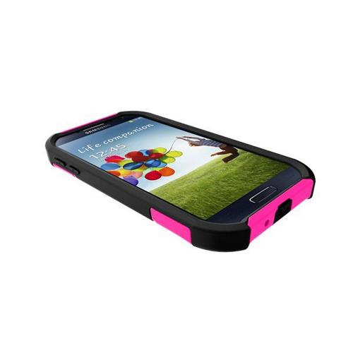 Trident Hot Pink/ Black Aegis Series Hard Cover on Silicone Case w/ Screen Protector for Samsung Galaxy S4