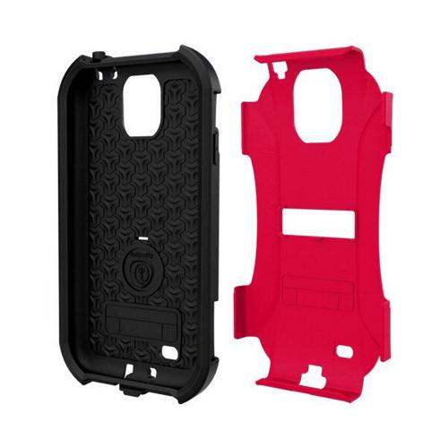 Trident Red/ Black Aegis Series Hard Cover on Silicone Case w/ Screen Protector for Samsung Galaxy S4