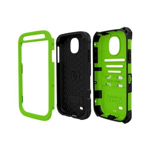 Trident Lime Green/ Black Kraken AMS Series Hard Case Over Silicone w/ Screen Protector, Kickstand, & Belt-Clip for Samsung Galaxy S4