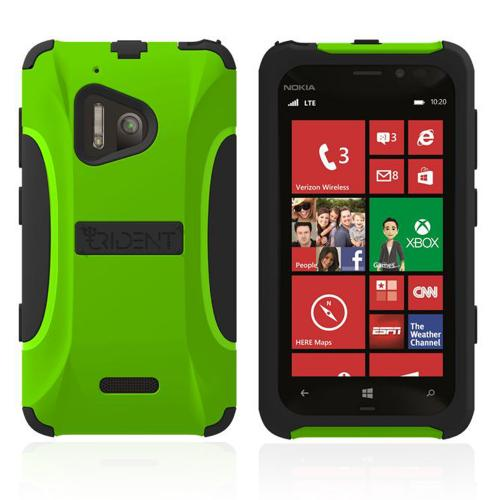 Trident Lime Green/ Black Aegis Series Hard Cover on Silicone Case w/ Screen Protector for Nokia Lumia 928