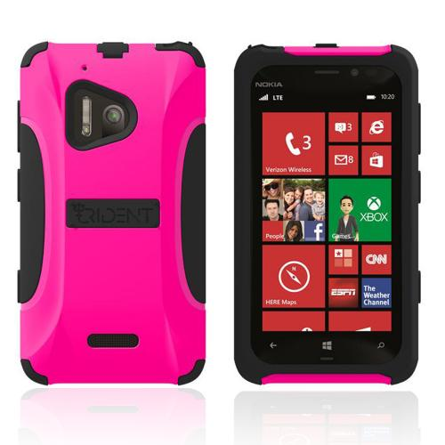 Trident Hot Pink/ Black Aegis Series Hard Cover on Silicone Case w/ Screen Protector for Nokia Lumia 928