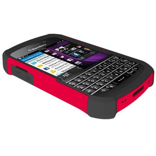 Trident Red/ Black Aegis Series Hard Case on Silicone Skin w/ Screen Protector for Blackberry Q10 - AG-BB-Q10-RED