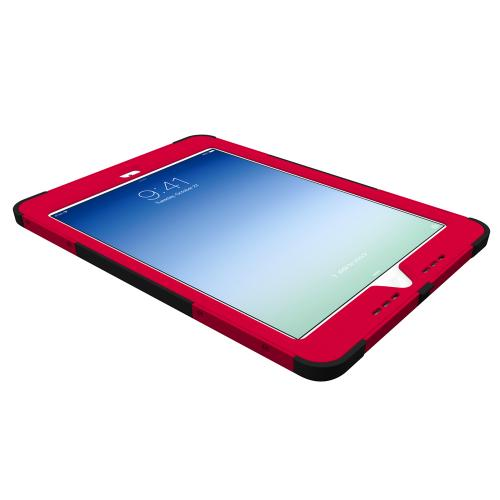 Trident Red/ Black Kraken AMS Series Hard Cover on Silicone Skin Case w/ Built-In Screen Protector for Apple iPad Air - AMS-APL-IPAD5-RED