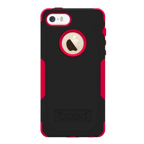 Apple iPhone SE / 5 / 5S  Case, Trident [Red/ Black] AEGIS Series Hard Cover Over Silicone Case w/ Screen Protector