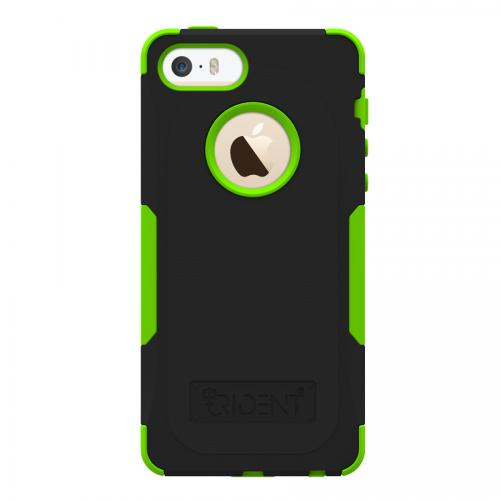 OEM Trident Aegis Apple iPhone 5/5S Hard Cover Over Silicone Case w/ Screen Protector - Green/ Black