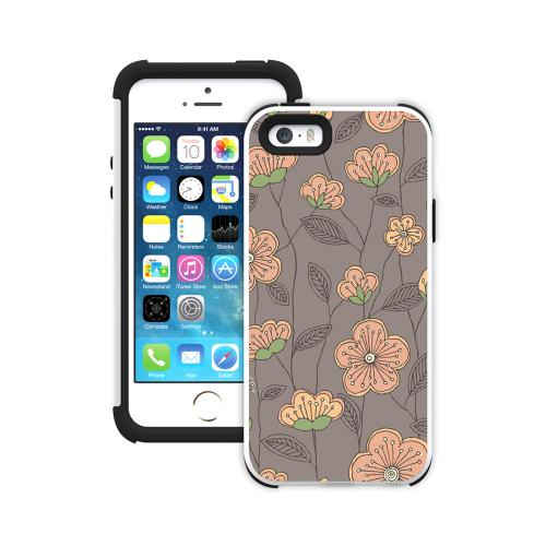 Apple iPhone SE / 5 / 5S  Case, Trident [Pink Cherry Blossoms On Gray] AEGIS Series Slim & Rugged Hard Case Over Silicone Skin Dual Layer Hybrid Case w/ Screen Protector