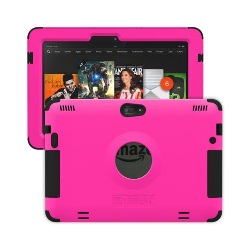 Trident Hot Pink/ Black Kraken AMS Series Hard Case on Silicone w/ Built-In Screen Protector for Amazon Kindle Fire HDX 8.9 - AMS-AMZ-KFHDX89-PNK