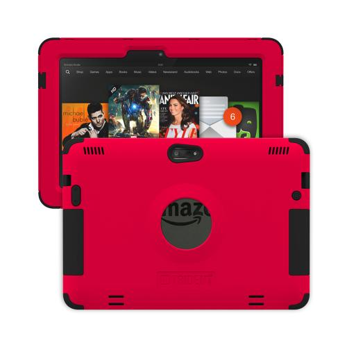 Trident Red/ Black Kraken AMS Series Hard Case on Silicone w/ Built-In Screen Protector for Amazon Kindle Fire HDX 8.9 - AMS-AMZ-KFHDX89-RED