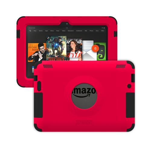 Trident Red/ Black Kraken AMS Series Hard Case on Silicone w/ Built-In Screen Protector for Amazon Kindle Fire HDX 7 - AMS-AMZ-KFHDX7-RED