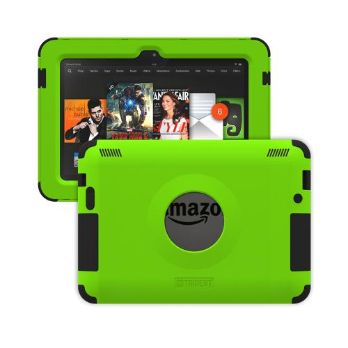 Kindle Fire HDX 7 Dual Layer Case by Trident | [Lime Green] Kraken AMS Hard Polycarbonate on Silicone Hybrid Case W/ Built-in Screen Protector