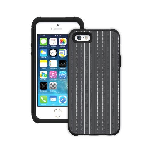 Apple iPhone SE / 5 / 5S  Case, Trident [White Pinstripes On Dark Gray] AEGIS Series Slim & Rugged Hard Case Over Silicone Skin Dual Layer Hybrid Case w/ Screen Protector