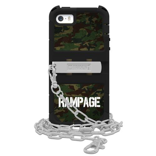 "Apple iPhone SE / 5 / 5S  Case, Trident [Green Camo/ Black] KRAKEN AMS RAMPAGE Series Hard Case Hybrid Case Kickstand & Holster w/ 32"" Steel Chain w/ Screen Protector"