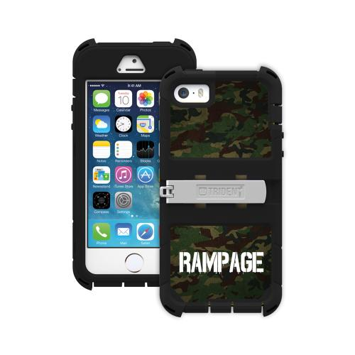 "Trident Green Camo/ Black Kraken Ams Rampage Series Hard Case Hybrid Case W/ Screen Protector, Kickstand, Holster & 32"" Steel Chain Apple Iphone 5/5s"
