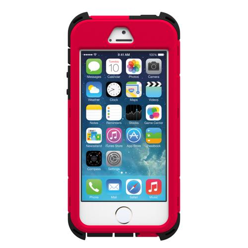 "Apple iPhone SE / 5 / 5S  Case, Trident [Cage Red/ Black] KRAKEN AMS RAMPAGE Series Hard Case Hybrid Case Kickstand & Holster w/ 32"" Steel Chain w/ Screen Protector"