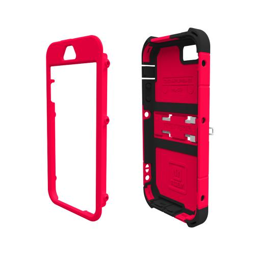 "Trident Cage Red/ Black Kraken Ams Rampage Series Hard Case Hybrid Case W/ Screen Protector, Kickstand, Holster, & 32"" Steel Chain Apple Iphone 5/5s"