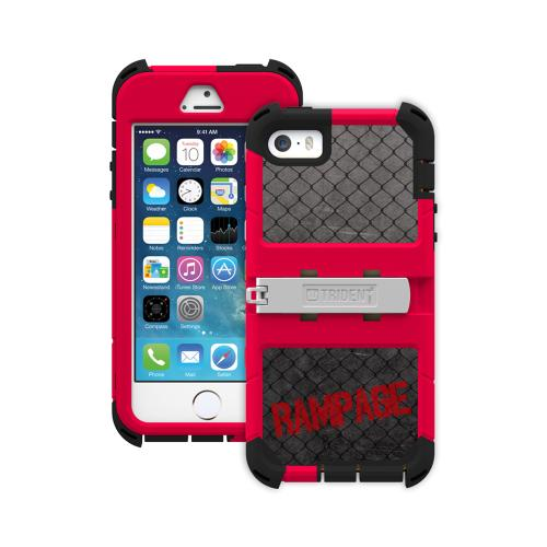 "Trident Cage Red/ Black Kraken AMS Rampage Series Hard Cover Hybrid Case w/ Built-In Screen Protector, Kickstand, Holster, & 32"" Steel Chain for Apple iPhone 5/5S - AMSRP-APL-IPH5S-RP002"