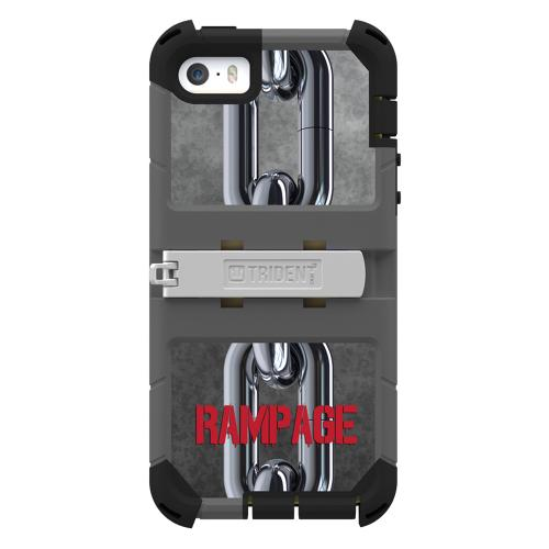 "Trident Silver Chains On Gray/black Kraken Ams Rampage Series Hard Case Hybrid Case/ Built-in Screen Protector, Kickstand, Holster, & 32"" Steel Chain"