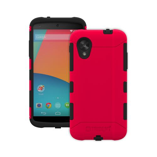 Trident Aegis Nexus 5 Case | [Red] Aegis Series Slim & Rugged Hard Cover over Silicone Skin Dual Layer Hybrid Case w/ Screen Protector for LG Nexus 5 | Great Alternative to Otterbox!