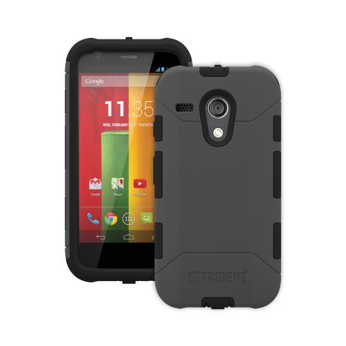Trident Gray/ Black Aegis Series Hard Cover on Silicone Case w/ Screen Protector for Motorola Moto G - AG-MOT-G-GY