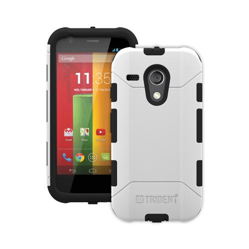 Trident White/ Black Aegis Series Hard Cover on Silicone Case w/ Screen Protector for Motorola Moto G - AG-MOT-G-WT