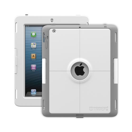 Trident Gray/White Apple iPad 2/3/4 Kraken AMS Industrial Edition Hard Case on Silicone w/ Built-In Screen Protector {AMSID-APL-NEWIPAD-PTS001} - Perfect for Hospitals!