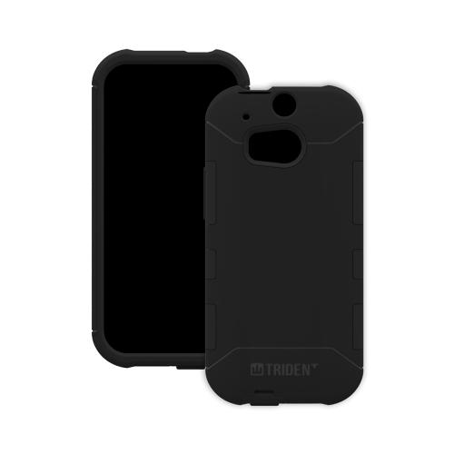 Trident Black Aegis Series Hard Cover on Silicone Case w/ Screen Protector for HTC One (M8) - AG-HTC-M8-BK