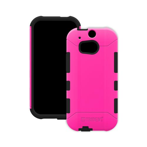 Trident Hot Pink/ Black Aegis Series Hard Cover on Silicone Case w/ Screen Protector for HTC One (M8) - AG-HTC-M8-PNK