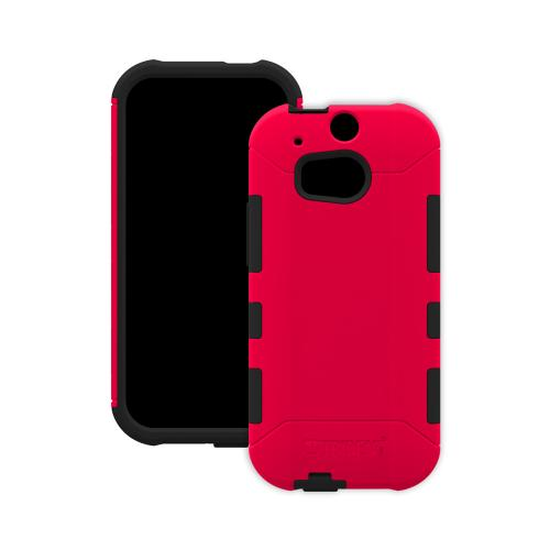 Trident Red/ Black Aegis Series Hard Cover on Silicone Case w/ Screen Protector for HTC One (M8) - AG-HTC-M8-RED