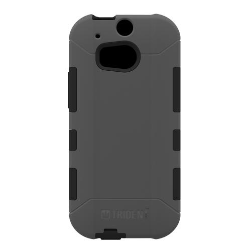 Trident Aegis One (M8) Case | [Gray] Aegis Series Slim & Rugged Hard Cover over Silicone Skin Dual Layer Hybrid Case w/ Screen Protector for HTC One (M8) | Great Alternative to Otterbox!